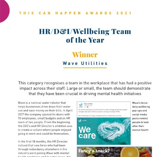 HR/D&I/Wellbeing Team of the Year photo