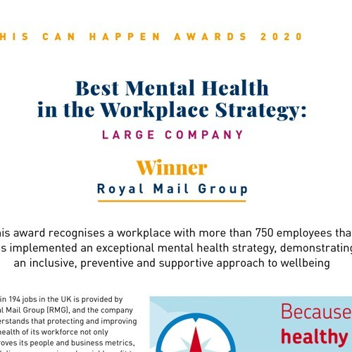 Best Mental Health in the Workplace Strategy: Large Company photo